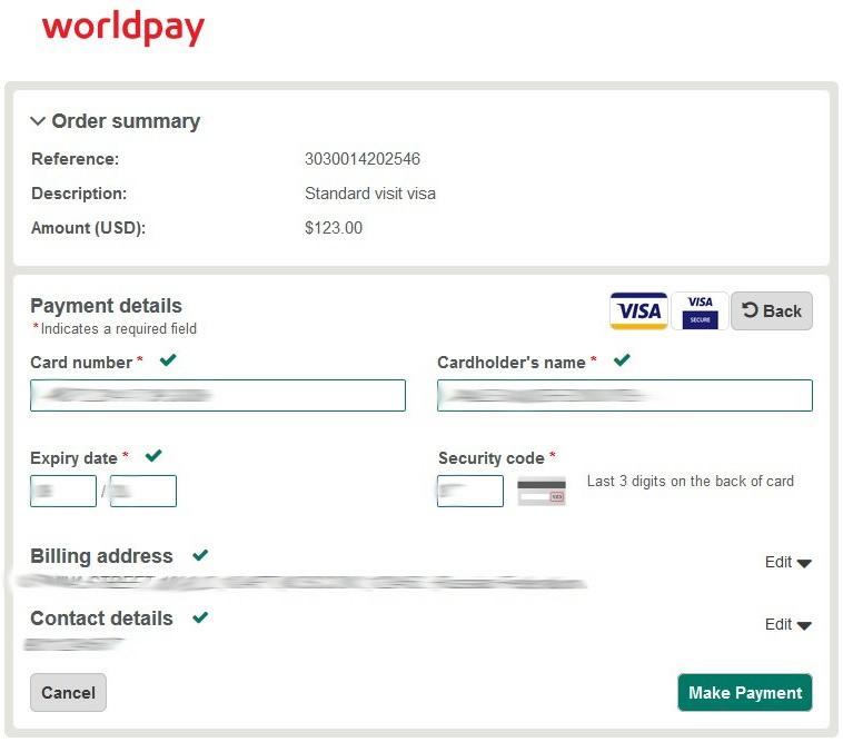 оплата сбора в системе worldpay